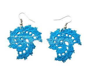 Cotton Crochet Earrings, Crochet Earrings, Blue Earrings, Dangle Earrings, Crochet Jewelry, Beadwork Crochet Earrings