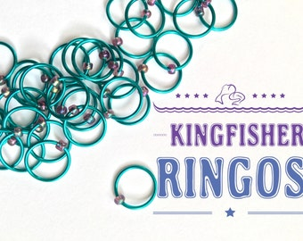 Knitting stitch markers LARGE O-rings, snag free - KINGFISHER