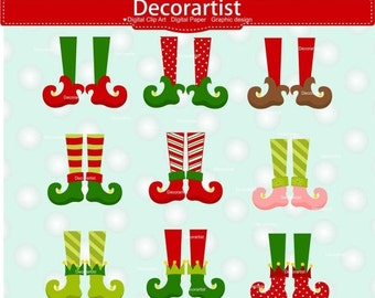 ON SALE Christmas clip art, Christmas elf clip art, elf legs clip art, Digital clipart, Christmas elves clip art, instant download