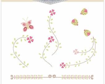 ON SALE INSTANT Download Digital clip art. for all use, flower border