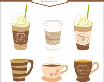 ON SALE Coffee clipart,latte clipart,digital clipart coffee cup, A cup of coffee clipart, drinks clipart, Instant Download
