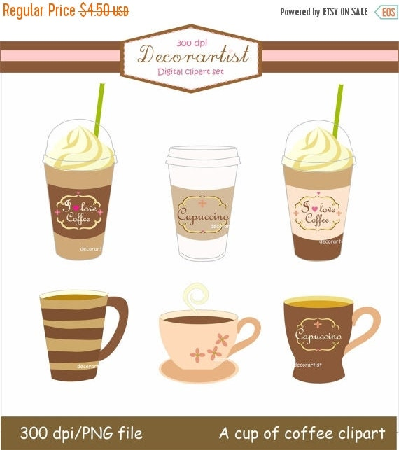 on sale coffee clipartlatte clipartdigital clipart