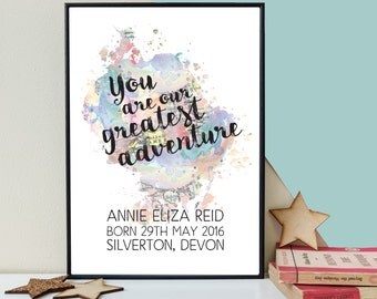 New Baby Gift - Nursery Decor - You Are Our Greatest Adventure - Personalised Print - Mum To Be Gift - Dad To Be Gift - Framed Print