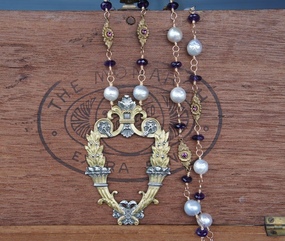 Antique French Classical Buckle necklace with Silver Pearls Amethyst and Gold Assemblage Design