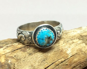 Blue Turquoise Ring - Gemstone Ring - Birthstone Jewelry - 925 Sterling Silver