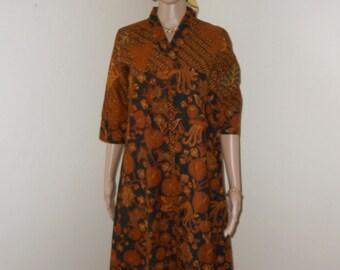Brown/Black Batik 3/4 Sleeve, Indonesian Tunic - Size S