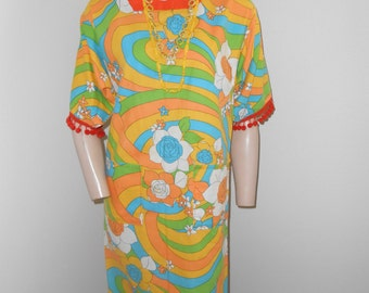 Orange Psychedlic Print 60's Cotton Hospital Gown - Size M