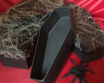 Coffin Boxs With Spider Webbing, Set Of 3 Stacking Coffin Gift Box, Jewelry Box, Halloween Supply, Black Coffin, Spider Web, Custom Handmade