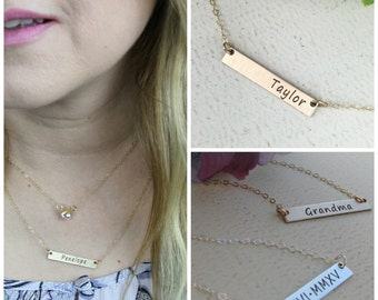 Personalized bar necklace • Layering necklace • Sterling Silver, Gold-filled or Rose Gold-filled option • Name plate bar necklace