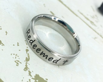 Redeemed stainless steel ring - Christian Ring - Engraved Jewelry - Spiritual - Cross