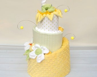 Diaper Cakes, Gender Neutral Baby Gifts, Yellow And Green Baby Shower,  Shower Decor