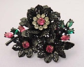 CORO Brooch / Vintage CORO Black Japanned and Pink Floral Brooch / Coro Floral Brooch / Coro Rhinestone Brooch / Coro Floral Pin / Pink