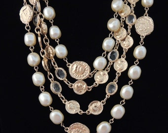 Vintage Bezel Set Crystal Ancient Coin and Pearl Bead Multi Chain Necklace / Multi Strand Necklace/ Ancient Coin Necklace / Wedding Jewelery