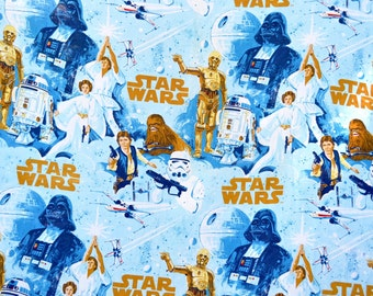 Vintage Fabric Panel - Original 1970s Star Wars Extra Large Sheet Bedspread - 92 x 124