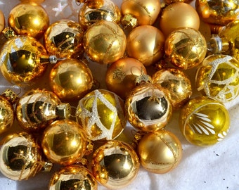 Vintage Glass Ornaments - Feather Tree Gold Lot - 29 Balls