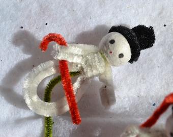 Vintage Chenille Snowman Picks Tie On Stems - 3