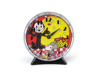 Vintage Felix the Cat Animated Alarm Clock • Cartoon Character • 1980s Wind Up Timepiece • Original Box