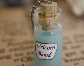 ON SALE Unicorn Blood - Vial Necklace - Unicorn Necklace - Halloween Jewelry