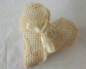 Mini Ring bearer pillow  Heart shaped pillow  Vintage doily remake  Page boy pillow  Rustic country wedding