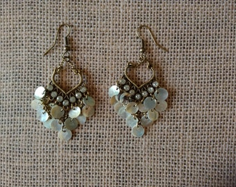 Elegant shell and rhinestone chandelier earrings