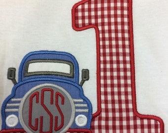 GreatStitch Custom Birthday Truck 1st Birthday Shirt 2nd Birthday Shirt 3rd Birthday Shirt