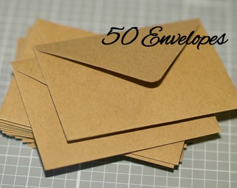 Mini Kraft Envelopes (50) ... Business Card Envelopes Thank You Notes Recycled Eco Friendly Rustic Gift Card Wedding Guest Book Euro Flap
