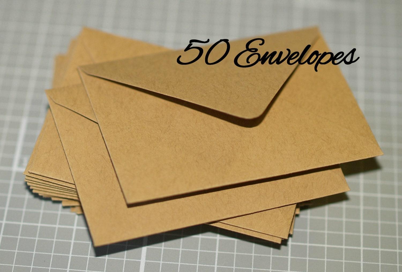 Mini Kraft Envelopes 50 Business Card Envelopes by