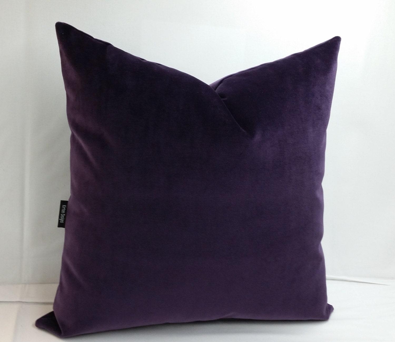 Purple Velvet Throw Pillows : Pair Deep purple velvet pillows 18 20