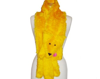 Plush Fun Fox Stole sunshine yellow faux fur animal scarf