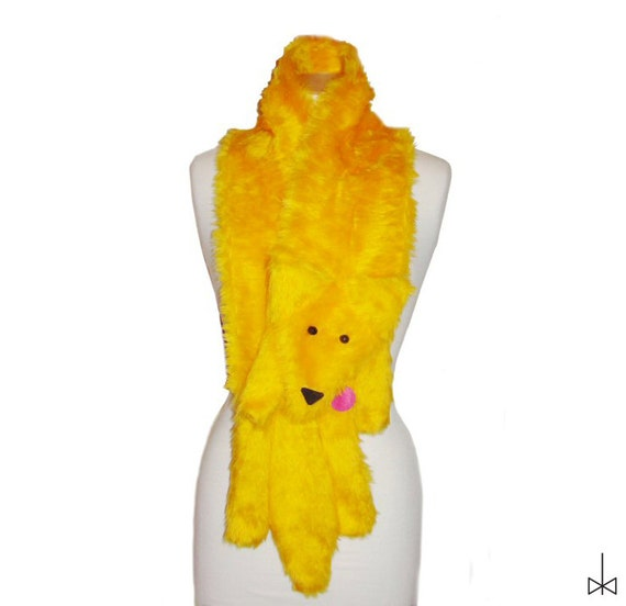 Plush Fun Fox Stole sunshine yellow faux fur animal scarf