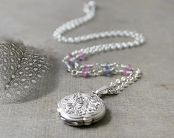 Vintage Silver Locket Necklace, Sterling Silver Locket, Silver Photo Locket, Silver Picture Locket, Gemstone Locket, Floral Locket Push Gift