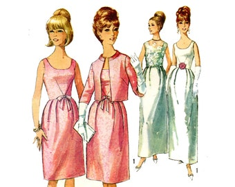 1960s Dress and Jacket Pattern Sleeveless Evening Dress Bell Skirt Scoop Neck Standing Collar Simplicity 6174 Bust 31 Vintage Sewing Pattern