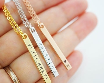 Vertical Name Necklace name bar Necklace Personalized necklace Bridesmaid Gifts Christmas gift for her Personalized jewelry monogram jewelry