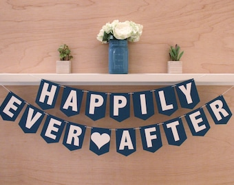 """Happily Ever After Banner - Wedding or Bridal Shower Sign - Custom Colors - 4.5"""" Pennants"""