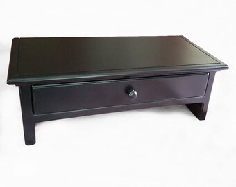 Medium Size  Black Computer Monitor Stand and Desk Organizer with Drawer