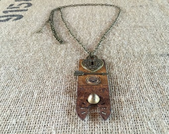 Recycled Necklace Patina Heart materials one of a kind necklace upcycled jewelry pendant roadside findings unique