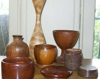 Collection Of Turned Wood - Vases, Round Boxes, Cups - Maple, Pine, Mahogany