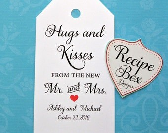 Hugs and Kisses from the new Mr and Mrs, Wedding Favor Tags, New Style, Hugs and Kisses from Mr and Mrs, Select 50-200 Favor Tags