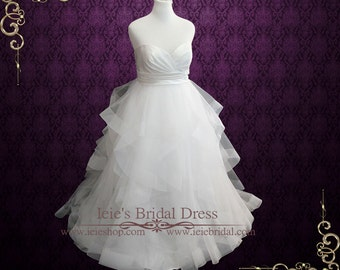 Ball Gown Wedding Dress with Ruffle Skirt | Strapless Wedding Dress | Organza Wedding Dress | Plus Size Wedding Dress | Doris
