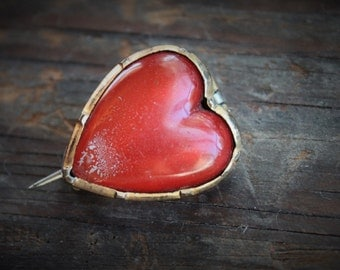 Georgian Coquelicot Glass Heart Fichu Pin / Antique Veil Pin
