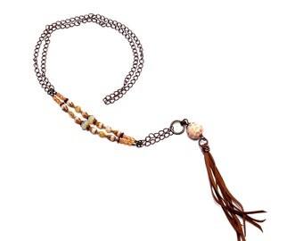 Boho Tassel Necklace, Boho Beaded, Vanilla Peach, Art Bead Necklace