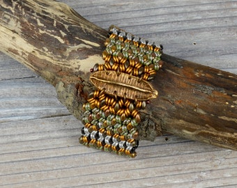 Woven Collection, Bronze Pod, Glass Beaded Handcrafted Bracelet, Mixed Metals