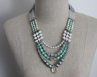 Trendy Artic Chill Statement Pearl Beaded Multistrand Bib Necklace in Mint, White, Grey and SIlver with Pearls and Crystals