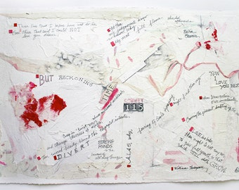 Shakespeare Sonnet 115 Collage- White Red Mixed Media- Poetry Art- Wedding, Anniversary- Sonnet cxv- Charity Donation