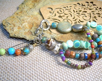 Mixed Material Bohemian Bracelet With Multi Strand Lake Blue Beads, Gemstones And Vintage Beads