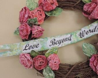 Wreath of  Roses, Handmade Roses, Shabby Style Decor, Home Decor,  Wall Art, Wedding Gift, Child's Room, Valentines Gift