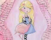 Alice and The Flamingo Art Print, Alice in Wonderland