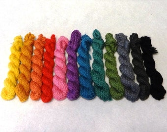 SALE - Mini-skeins yarn - hand-spun yarn - Superfine Merino Color 19 - 3.4 oz total