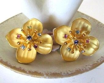 Joan Rivers Dogwood Flower Clip Earrings Multi-Color Rhinestones