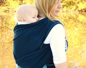 Baby Carrier Hybrid Stretch Wrap - Navy Blue - Front & Back Carries- Instructional DVD Included - Fast Shipping